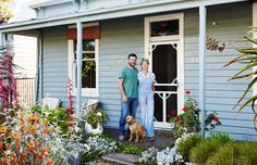 Mal Wood, Sam Clayton and Mike the dog in the front garden of their Northcote home. Photo – Annette O'Brien for The Design Files x The Planthunter The Design Files, Design Blog, Melbourne Garden, Types Of Christmas Trees, Weatherboard House, Front Garden Landscape, Small Front Gardens, Australian Native Garden, Types Of Herbs