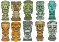 Tiki Figures Collection : print and put on paper bags for boy's awards