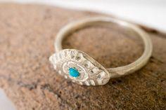 Turquoise evil eye ring