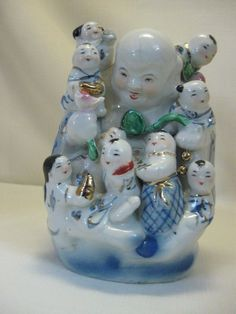 Porcelain Happy Buddha With 9 Playing Kids Gold Design Made In China