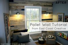 DIY pallet wall- doing this in Saylor's room;East Coast Creative {formerly RHBC}: Pallet Possibilities {Pallet Wall} Wooden Pallet Wall, Wood Pallets, Pallet Walls, Pallet Boards, Free Pallets, Painted Pallets, Wooden Walls, Palette Deco, Palette Wall