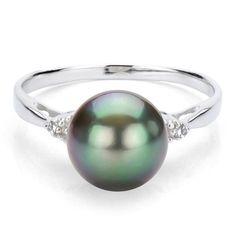 DaVonna Sterling Silver 9-10 mm Tahitian Pearl and 1/10ct Diamond Ring - Overstock™ Shopping - Top Rated DaVonna Pearl Rings