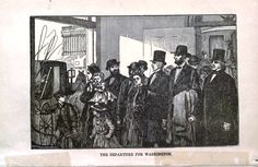A sketch of the carriage transfer in Baltimore from Pinkerton's 1884 book, The Spy and the Rebellion. Lincoln is depicted wearing a shawl. One of the women was probably Kate Warne.