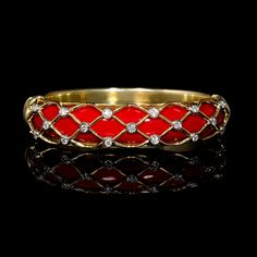 .56ct Garavelli Diamond and French Enamel 18k Yellow Gold Bangle Bracelet