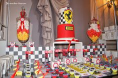 Created a podium to put the cake for this Ferrari themed party