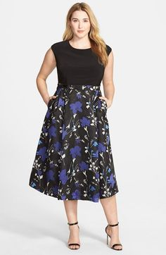 Alex Evenings Floral Print Tea Length Dress (Plus Size) available at #Nordstrom