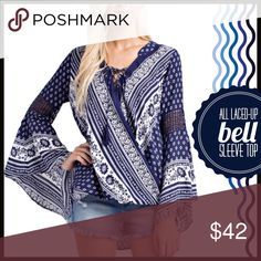 Bell-Sleeve Top Cross–Over Bell Sleeve Blouse Boutique Tops