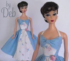 Bow Blue - Vintage Barbie Doll Dress Reproduction Repro Barbie Clothes