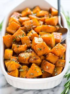 Cinnamon Roasted Butternut Squash with Maple and Rosemary. Cubes of butternut squash tossed with maple syrup, Butternut Squash Spaghetti Recipes, Roasted Butternut Squash Cubes, Butternut Squash In Microwave, Sweet Butternut Squash Recipe, Healthy Butternut Squash Recipes, Butternut Squash Side Dish, Oven Roasted Butternut Squash, Butternut Squash Casserole, Cauliflower Casserole