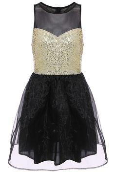 ROMWE Glam Sleeveless Sequined Organza Dress