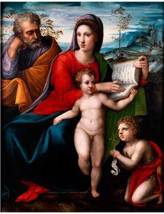 HEILIGE FAMILIE MIT JOHANNESKNABEN Öl auf Holz. 113 x 89 cm. Auf dem Gemälde ist eine mit Pinsel geschriebene, wahrscheinlich aus dem 19. Jahrhundert...