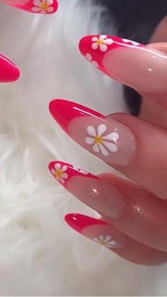 Simple Acrylic Nails, Summer Acrylic Nails, Aycrlic Nails, Manicure, Really Cute Nails, Kylie Jenner Nails, Stick On Nails, Kawaii Nails, Flower Nail Designs