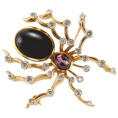Tiffany & Co. Paloma Picasso Onyx Tourmaline Diamond Gold Spider Brooch | From a unique collection of vintage brooches at https://www.1stdibs.com/jewelry/brooches/brooches/
