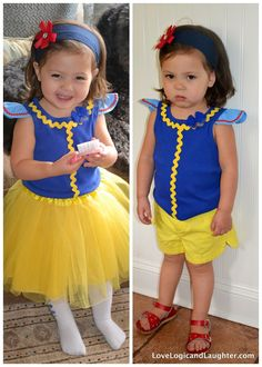 Logic and Laughter: Princess Play Clothes - Snow White from a ribbed tank top-just add ric rac and capped sleeves Disney Dress Up, Disney Outfits, Kids Outfits, Princess Dress Up, Princess Outfits, Snow White Costume Kids, Halloween Infantil, Disney With A Toddler, Princesa Disney