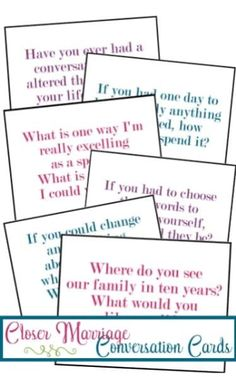 These conversation cards for stronger marriages are such a great idea! Definitely worth printing out and using again and again!