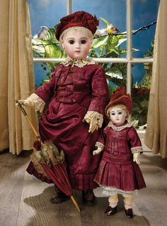 Sanctuary: A Marquis Cataloged Auction of Antique Dolls - March 19, 2016: Early French Bisque Portrait Bebe with Superb Costume by Emile Jumeau