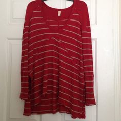 Red with tan stripes high low Free People NWOT Red with tan stripes high low Free People. Worn once for Valentine's Day.  this material is so stretchy fits like a large❤️❤️❤️❤️ Free People Tops