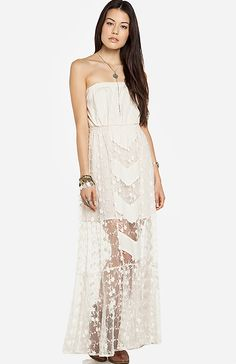 Line & Dot Embroidered Lace Tube Maxi Dress