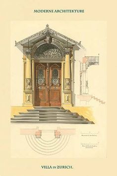 Doorway of Zurich Villa - Switzerland. High quality vintage art reproduction by Buyenlarge. One of many rare and wonderful images brought forward in time. I hope they bring you pleasure each and every