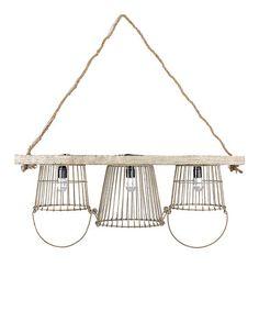 Metal & Wood Basket Chandelier #zulily #zulilyfinds