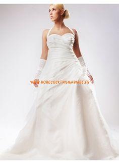 Blanche A-line organza satin robe de mariage grande taille en ligne
