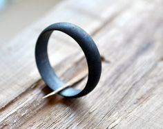 Black Wedding Band Men's Oxidised Ring Modern by Epheriell on Etsy, $77.00