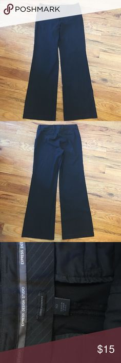 Express Women's Dress Slacks Size 10 Pinstripes Express Women's Dress Slacks Size 10 Black pants with Pinstripes. These have a 31 inch inseam, from the crotch to bottom. These are in excellent used condition, only worn a hand full of times. They have been dry cleaned only. Smoke free home, no holes, stains or missing pieces. Express Pants Boot Cut & Flare