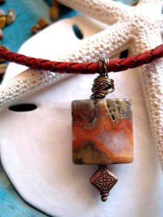"""10% off....LIMITED TIME OFFER...enter coupon code PIN10 upon check out.........Antique Tan Braided Leather Necklace with Crazy Jasper & Copper Charm """"FREE SHIPPING""""   by LeatherDiva, $28.00 neck bling, handmad wonder, leather jewelri, handmad jewelri, tan braid"""