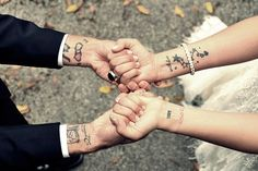 Bride and groom tattoos love wedding couples tattoos