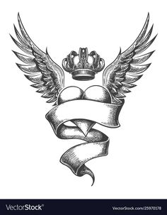 Buy Heart with Crown and Wings Tattoo in Engraving Style by on GraphicRiver. Heart with Crown, Ribbon and Wings Tattoo Drawn in Engraving Style. Zip file: EPS 10 and high resolution JPG Angle Wing Tattoos, Wing Tattoo Men, Wing Tattoo Designs, Tattoo Design Drawings, Tattoo Designs For Women, Tattoos Skull, Tribal Tattoos, Sleeve Tattoos, Star Tattoos