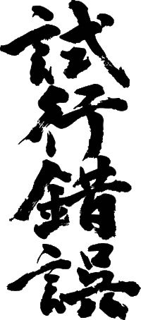 """Japanese idiom 試行錯誤 shi-kou sakugo """"trial and error"""" (have this carved in wood and placed in my living room)"""