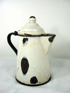 Vintage ENAMELWARE COFFEE POT Creamy White by LavenderGardenCottag