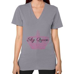 Sky Queen V-Neck (on woman)