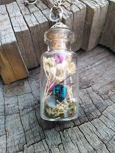 Real Cuckoo Wasp Terrarium Necklace. #real #jewel #weevil #wasp #beetle #insect #terrarium #statement #ring #fashion #wear #jewelry #design #unique #ooak #shop #gift #ideas #boho #bohemian #gypsy #goddess #semi #precious #gem #gemstones #peridot #bismuth #labradorite #petrified #wood #quartz #crystals