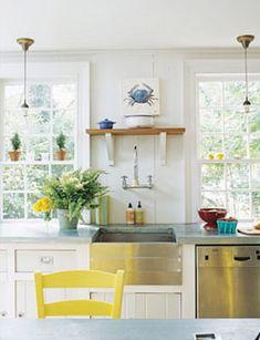 Dream Kitchen! Love that yellow chair!
