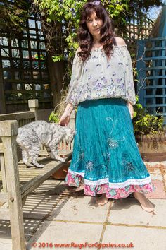 Gypsy Teal Flared Upcycled Skirt Bohemian Hippie by RagsForGypsies