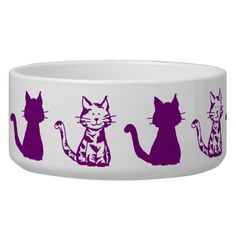 Shop Purple Cats Pattern Large Pet Bowl created by PurpleCatArts. Cat Sushi, Japan Kawaii, Down Syndrome Cat, Purple Cat, Bowl Designs, Pet Bowls, White Cats, Large Animals, Cat Pattern