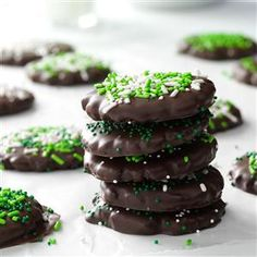 Mint Chocolate-Covered Cookies Recipe -At our house, everyone lends a hand to make these easy chocolate-covered cookies. They remind me of Thin Mints. Decorate them with sprinkles to match the occasion.—Lily Julow, Lawrenceville, GA