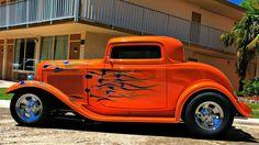 Hot rod car flames
