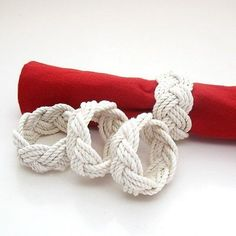 Mystic Knotwork: Nautical Sailor Knot Turks Head Napkin Rings, Set of 4