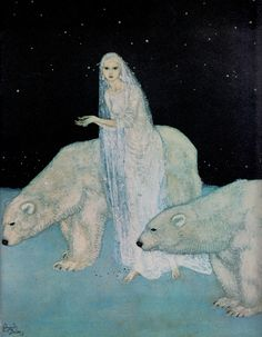 """'Everything about her was white' from 'Queen Marie of Roumania, The Dreamer of Dreams' 1915 by EDMUND DULAC watercolour 10x12"""". From the book Edmund Dulac by Colin White (1976)  (minkshmink) I adore this."""