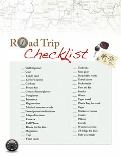 Road Trip checklist! Because sometimes you can forget the simplest things!