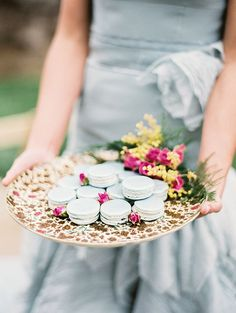 IDEA:   PLATTER (Option:Floral Patterned) + FRENCH MACAROONS (Option:Pastel Colored) + MINI ROSES and Extra Side Florals as added Decor (Option: Use Faux or Real Flowers on the side)!         IDEA: Perfect for: Tea Party, Alice in Wonderland Party, Picnic Party, Baby Shower, Bridal Party, even for Dessert at the end of a Wine and Cheese Party, a Chic Summer Soirée, Girls Night in Party, etc.