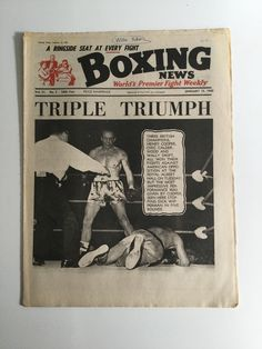 VINTAGE BOXING NEWS JANUARY 15 1965 CHIC CALDERWOOD HENRY COOPER MICK LEAHY BOXING NEWS World's Premier Fight Weekly - A ringside seat at every fight  Vol. 21 - No. 3 - 56th Year - January 15, 1965  TRIPLE TRIUMPH Three British Champions, Henry Cooper, Chic Calderwood and Wally Swift, all won their fights against American opposition at the Royal Albert Hall on Tuesday. But the most impressive performance was given by Cooper, seen here stopping Dick Wipperman in five rounds.  Pages slightly…