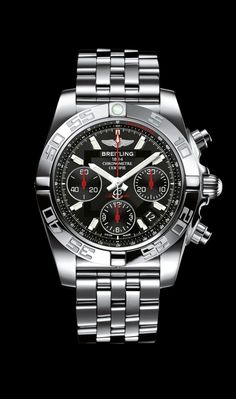 Limited Edition Chronomat 41 watch by Breitling - Steel case and bracelet with onyx black dial.