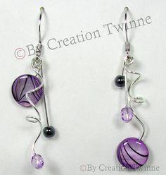 purple earrings, purple spiral earrings, bridesmaids earrings, mother gift, wedding jewelry, asymmetrical earring, purple funky earrings
