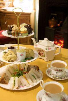 Miss B's Tea Shop, Melton Mowbray, Leicestershire - afternoon tea, including slices of traditional pork pie ~ **YUMMY** English Afternoon Tea, Cream Tea, Afternoon Tea Parties, Tea Sandwiches, My Cup Of Tea, Brunch, Vintage Tea, High Tea, Chocolates