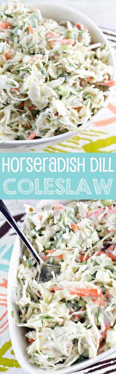 Horseradish Dill Coleslaw | Gluten Free | Vegetarian | Summer Sides | Bunsen Burner Bakery via @bnsnbrnrbakery
