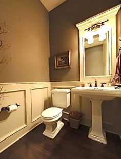 Half Bath / Powder Room ideas. I really like the paint color & molding (could use beaded board instead)