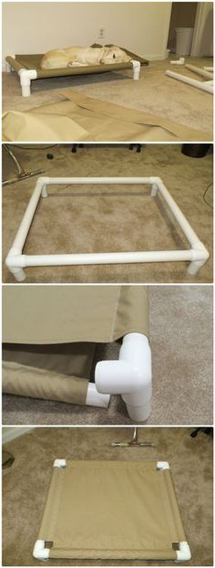 DIY PVC Pipe Dog Cot - 48 DIY Projects out of PVC Pipe You Should Make unique spin on a traditional dog bed! Dog Cots, Pvc Pipe Projects, Pvc Pipe Crafts, Diy Projects Recycled, Baby Diy Projects, Diy House Projects, Welding Projects, Diy Dog Bed, Pet Beds Diy